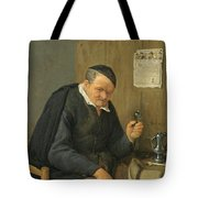 An Elderly Man Seated Holding A Wineglass Tote Bag