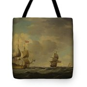 An English Flagship Under Easy Sail In A Moderate Breeze Tote Bag