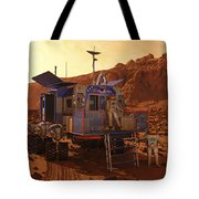 An Explorer Departs A Manned Rover Ina Tote Bag