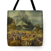 An Extensive Landscape With The Preaching Of Saint John The Baptist And The Baptism Of Christ Tote Bag