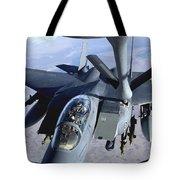 An F-15e Strike Eagle Refuels Over Iraq Tote Bag
