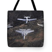 An F-16 Fighting Falcon, F-15 Eagle Tote Bag by Stocktrek Images