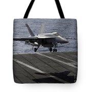 An Fa-18e Super Hornet Prepares To Land Tote Bag