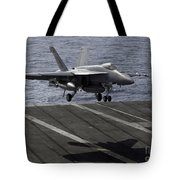 An Fa-18e Super Hornet Prepares To Land Tote Bag by Stocktrek Images