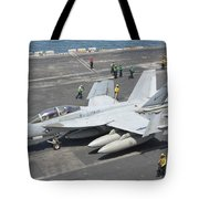 An Fa-18f Super Hornet On The Flight Tote Bag
