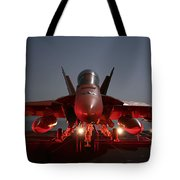 An Fa-18f Super Hornet Parked Tote Bag