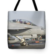 An Fa-18f Super Hornet Ready To Launch Tote Bag