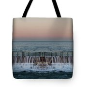 An Imagined Symmetrical Seawall As A Wave Tops It Tote Bag