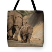 An Indian Rhinoceros And Her Baby Tote Bag