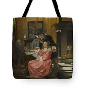 An Interior With A Woman Refusing A Glass Of Wine Tote Bag