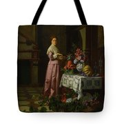 An Interior With Fruit And Flowers Tote Bag