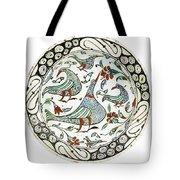 An Iznik Polychrome Pottery Dish With Birds Tote Bag