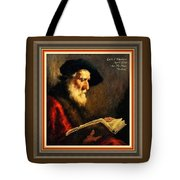 An Old Man Reading P A With Decorative Ornate Printed Frame Tote Bag