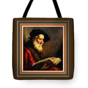 An Old Man Reading P B With Decorative Ornate Printed Frame. Tote Bag