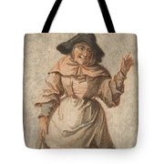 An Old Market Woman Grinning And Gesturing With Her Left Hand Tote Bag