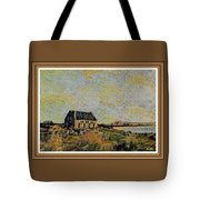 An Old Scottish Cottage Overlooking A Loch  L A S  With Decorative Ornate Printed Frame. Tote Bag