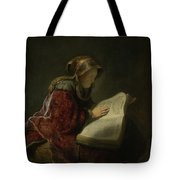 An Old Woman Reading - Prophetess Hannah Tote Bag