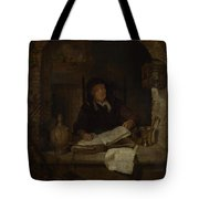 An Old Woman With A Book Tote Bag