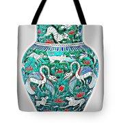 An Ottoman Iznik Style Floral Design Pottery Polychrome, By Adam Asar, No 7a Tote Bag
