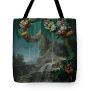 An Outdoor Scene With A Spring Flowing Into A Pool Tote Bag