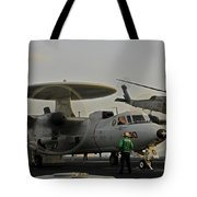 An Sh-60f Sea Hawk Helicopter Lifts Off Tote Bag