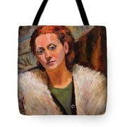 Ana In A Fur Coat Tote Bag