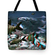 Anaglyph Whales Tote Bag