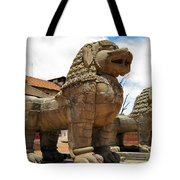 Ancient Lions In Nepal Tote Bag