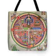 Ancient Map Of Jerusalem And Palestine Tote Bag by French School