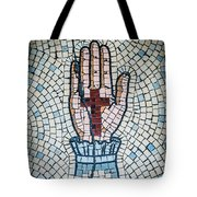 Ancient Mosaic Of A Hand And Cross Tote Bag