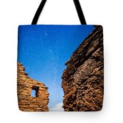 Ancient Native American Pueblo Ruins And Stars At Night Tote Bag by Bryan Mullennix