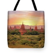 Ancient Pagodas In The Countryside From Bagan In Myanmar At Suns Tote Bag