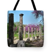 Ancient Ruins Tree By Columns Tote Bag