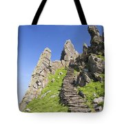 Ancient Steps Leading To Celtic Monastery, Skellig Michael, County Kerry, Ireland Tote Bag