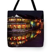 Ancient Style Restaurant On Water By Stone Bridge Tote Bag