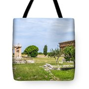 Ancient Temple At Famous Paestum Archaeological, Italy Tote Bag