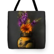 Ancient Vase And Flowers Tote Bag