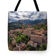 Ancient Village Of Sarnano Italy, Marche, Macerata - Aerial View Tote Bag
