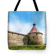 Ancient Wall And Tower Of The Fortress Oreshek Tote Bag