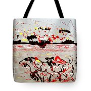 And Down The Stretch They Come Tote Bag by J R Seymour