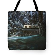 And The Lights Glowing Softly At Night Guide Us Home Tote Bag