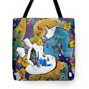 Angel And Blue Bottles Tote Bag