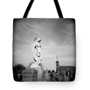 Angel And Church In Calvary Cemetery New York City Tote Bag