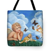 Angel And Kittens Tote Bag