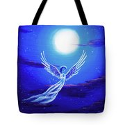Angel In Blue Starlight Tote Bag