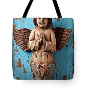Angel On Blue Wooden Wall Tote Bag