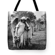 Angel On The Ground At Calvary Cemetery In Nyc New York Tote Bag