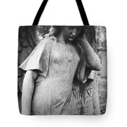 Angel On The Ground At Cavalry Cemetery, Nyc, Ny Tote Bag