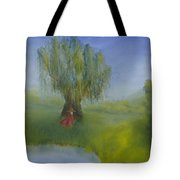 Angel Under Weeping Willow Tote Bag