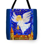 Angel With Christmas Bell Tote Bag